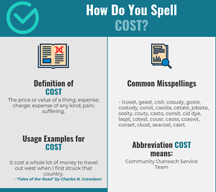 Correct spelling for cost