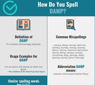 Correct spelling for damp