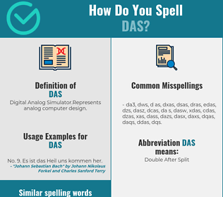 Correct spelling for das