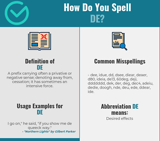 Correct spelling for de