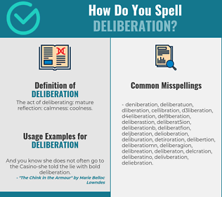 Correct spelling for deliberation