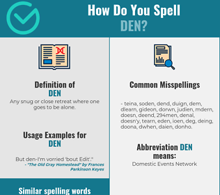 Correct spelling for den