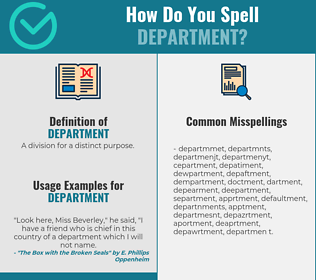 Correct spelling for department