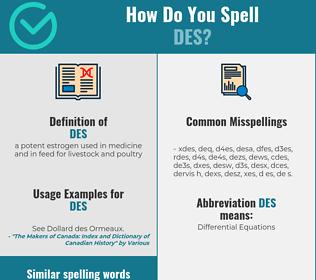 Correct spelling for des