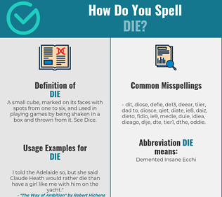 Correct spelling for die