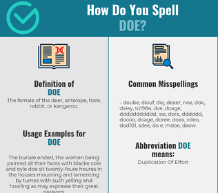 Correct spelling for doe