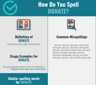 Correct spelling for donate