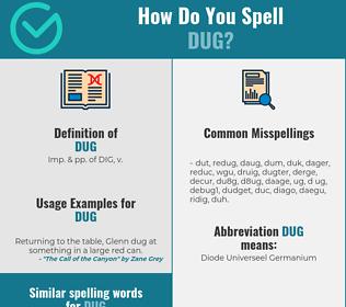 Correct spelling for dug