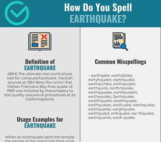 Correct spelling for earthquake
