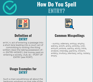 Correct spelling for entry