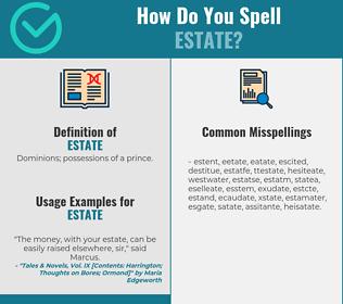 Correct spelling for estate