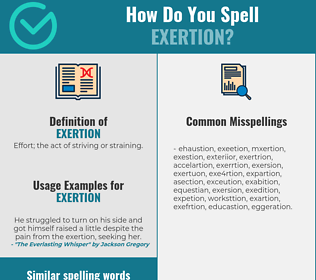 Correct spelling for exertion