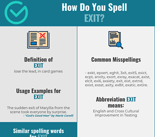 Correct spelling for exit