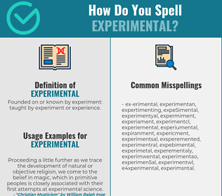 Correct spelling for experimental