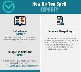 Correct spelling for export