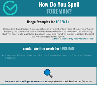 Correct spelling for foreman