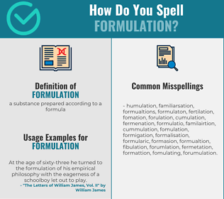 Correct spelling for formulation
