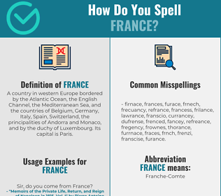 Correct spelling for france