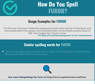 Correct spelling for furor