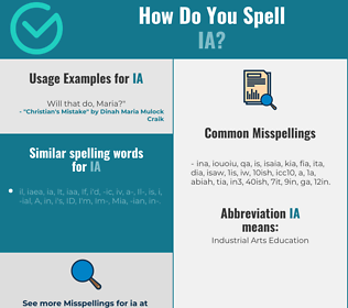 Correct spelling for ia