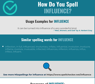 Correct spelling for influence