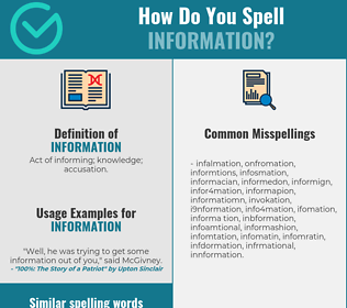 Correct spelling for information