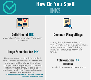 Correct spelling for ink