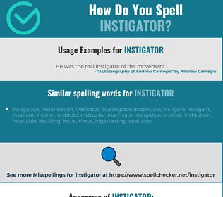 Correct spelling for instigator