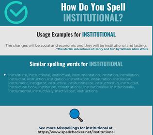 Correct spelling for institutional