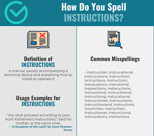 Correct spelling for instructions