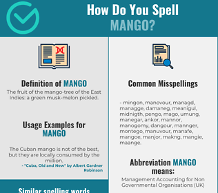 Correct spelling for mango