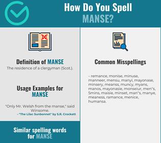 Correct spelling for manse