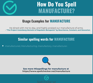 Correct spelling for manufacture