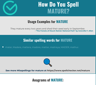 Correct spelling for mature