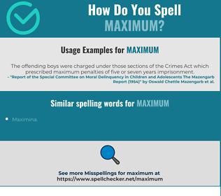 Correct spelling for maximum