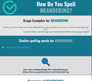 Correct spelling for meandering