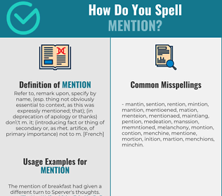 Correct spelling for mention