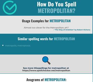 Correct spelling for metropolitan