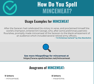 Correct spelling for mincemeat