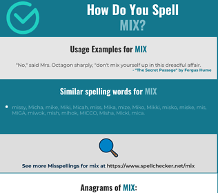 Correct spelling for mix