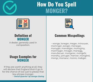 Correct spelling for monger