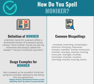 Correct spelling for moniker