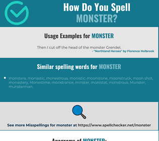 Correct spelling for monster