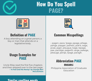 Correct spelling for page