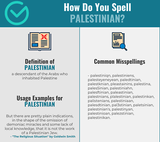 Correct spelling for palestinian