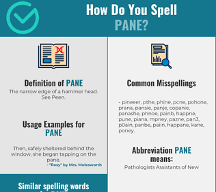 Correct spelling for pane