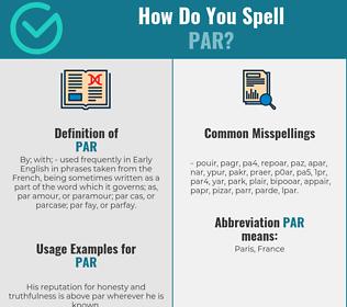 Correct spelling for par