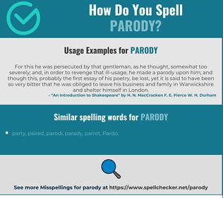 Correct spelling for parody