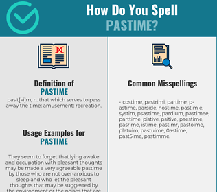 Correct spelling for pastime
