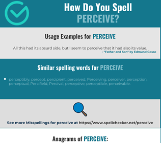 Correct spelling for perceive